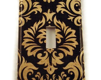 Light Switch Cover Wall Decor Switchplate  Decorative Switch Plate in Black and Tan Damask (089S)