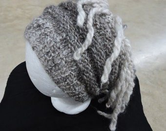 Handspun and Handknit Extreme Lamb's Tail Hat Slouch and Traditional Pattern