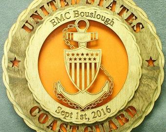 "CUSTOM  Personalized 12"" Wood Coast Guard Chief Wall Tribute - FREE SHIPPING"