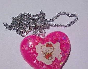 Resin Hello Kitty Version 2 Sanrio Inspired Puffy Heart Necklace Resin Puffy Heart Necklace Sanrio Resin