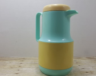 Very Retro Thermos, Coffee Carafe, Yellow and Teal, 1960s, Phoenix, mid century
