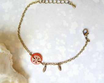 Coral, Bohemian leather bracelet, flower, leaves and brass chain