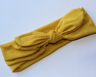 Knot Headband, Baby Top Knot Headband, Baby Turban, MUSTARD Knot Headbands, Knotted headband, Baby Headwrap, size regular