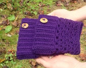 Button Boot Cuffs Purple - Crochet Boot Toppers - Boot Sleeve