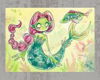MerMay 2018 Card 11 - Original ACEO, watercolor painting