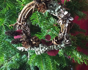 """All-Natural Christmas Wreath Ornament, 3"""" Woodland Wreath Ornament,  Rustic Ornament, Pine Cone Ornament, Holiday Décor, Christmas Gift"""