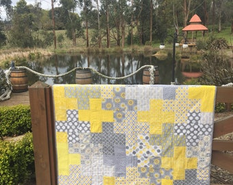 yellow and grey plus quilt Pieced Lap Quilt