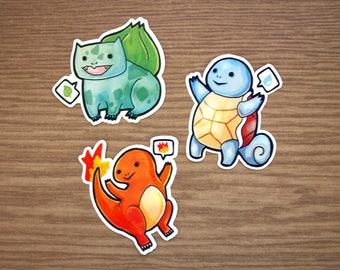 Derpy Poke Starters Stickers -  Vinyl Pokemon Fan Art Stickers / Anime Gift / Laptop Sticker / Illustrated / Large Sticker / Die Cut