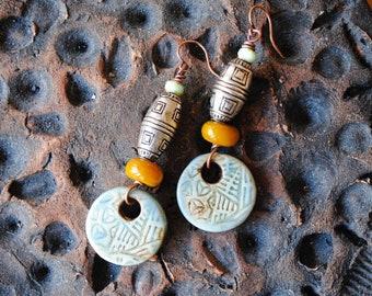Ceramic Earrings, Ethnic Earrings, Geometric Earrings, Artisan Ceramic, Lampwork Earrings, Blue Earrings, Boho Chic Jewelry, Tribal Earrings