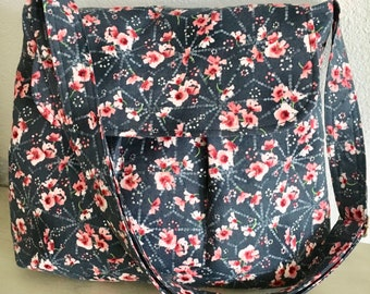 Blue and Pink Floral Crossbody Bag, Cross-Body Bag, Cross-Body Purse, Purse, Roomy Purse, Floral Purse, Gift for Her, Gift for Friend, Gift