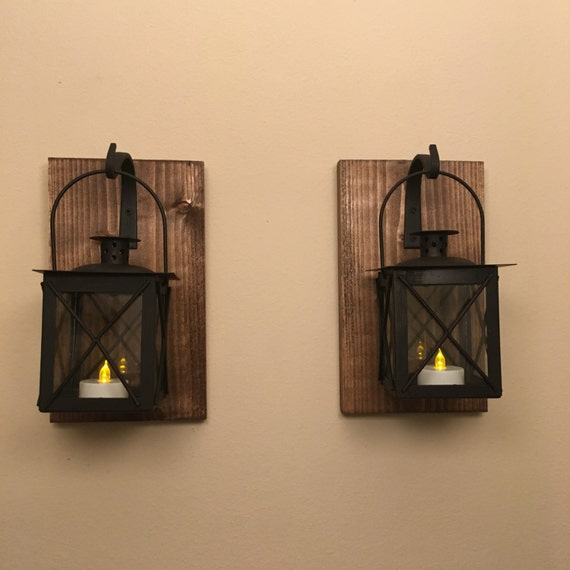 Set of 2 two lantern Black lantern wall lantern Bathroom