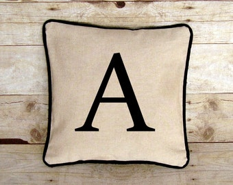 Linen Monogram Pillow Cover, Initial Pillow, Pillow Case with Letter