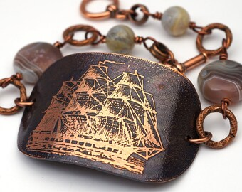 Clipper ship bracelet, corvette sailing vessel, botswana agate beads and etched copper, earthtones, 7 3/4 inches long