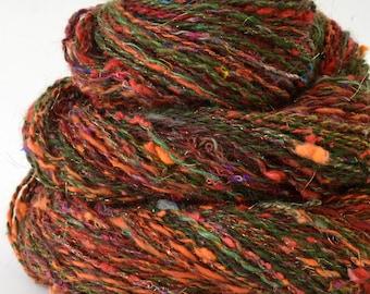Handspun Yarn -  Hand Spun Merino Bamboo Silk  Yarn - Art Yarn- 1.75oz, 190yd, 18WPI