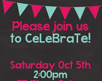 Birthday Invite Template, Photoshop Template, Digital Printable, Pink Birthday, Teal Birthday, DIY Birthday Invite, Digital Scrapbook