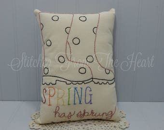 Spring Decorative Pillow - Spring Has Sprung - Rain Boots - Polka Dots - Quote