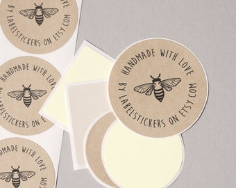 """HANDMADE with LOVE label stickers handdrawn vintage bumble bee shop name personalized round 12 large 2.5"""" or 20 medium 2"""" order wrap seals"""