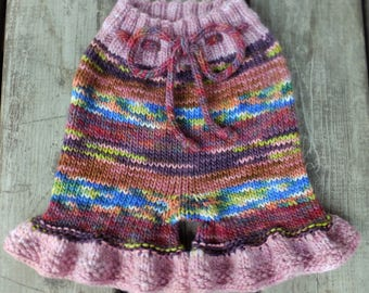 Handknit Wool Shorts, Wool Soaker, Wool Diaper Cover, Cloth Diaper Cover, 12-18 months