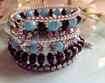 Turquoise memory wire bracelet, boho jewelry, silver bracelet, turquoise jewelry, trending items, beaded bracelets, gift idea