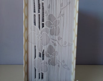 Paper sculpture book-Orchids with bamboo cane-gift idea, book art