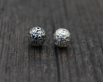 9mm Sterling Silver Bead,Sterling Silver spacer bead,Thai Silver Beads spacer,good fortune,good luck, happiness beads