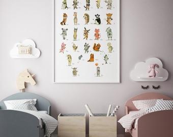 Alphabet poster, Choose your language, Animals poster, ABC decor,  abc nursery, kids decor, alphabet poster, Nursery art, Nursery decor