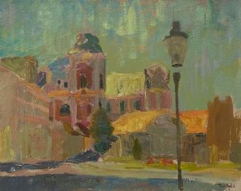 "Oil painting print ""Poznan Street"", town landscape print, ukrainian painting, oil sketches print"