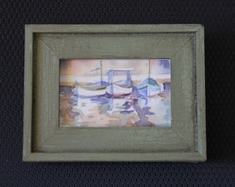Original miniature watercolor painting of three boats on water