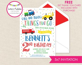 Transportation Birthday Invitation, Things that Go Birthday, Transportation Printables, Transportation Decorations, Lauren Haddox Designs