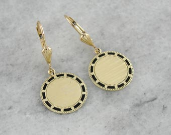 Retrofitted Antique Black Enamel Cufflink Earrings, Circular in Shape with Yellow Gold Leverbacks, RJ0WDL-N