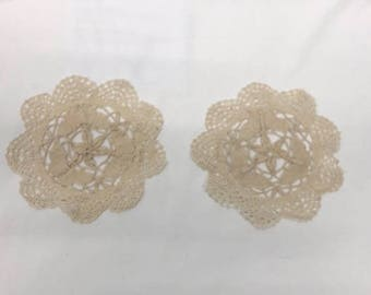 Lot of 2 Vintage Cream Crochet Round Dollie Doily Table Topper, Coaster