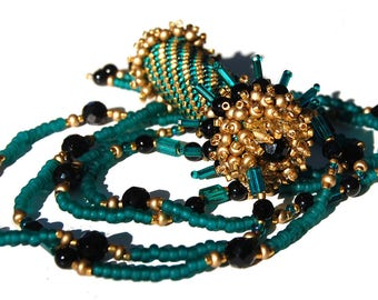 Beadwoven Black Onyx and Teal and Gold Seedbead Rainstick Necklace
