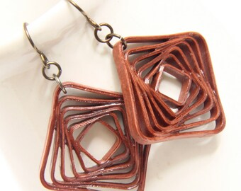 Square Spiral Swirl Earrings in Rust Brown Niobium Eco Friendly Jewelry hypoallergenic Artisan Jewelry Mod Abstract