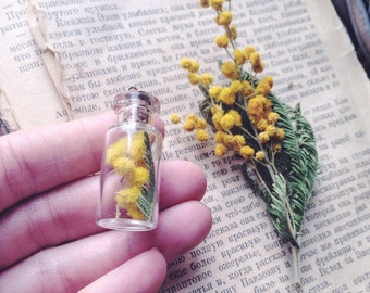 Mimosa Flower necklace - Sunshine yellow Botanical necklace - Romantic gift for her - Real flower Terrarium jewelry Bright Yellow pendant