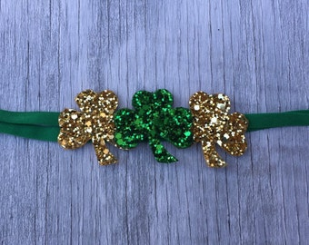 Glitter Shamrocks Bow // St. Patrick's Day Headband // St. Pat's Day // Irish Bow // St. Patrick's Hair / St. Patty's Headband / Irish Hair