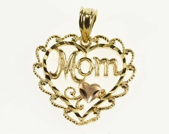 14k Mom Heart Scalloped Rope Trim Charm/Pendant Gold