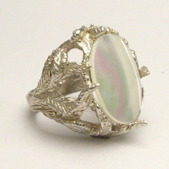 Handmade Solid Sterling Silver Mother of Pearl Ring