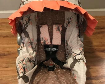 Faux deer hide skin & floral STAG in tulip buck deer head sillouett baby infant carseat cover with free monogram and minky strap covers
