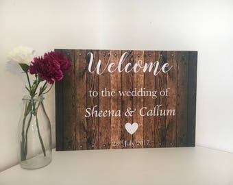 Welcome Wedding Sign - Welcome Reception Sign - Rustic Wedding Sign- Wedding Sign