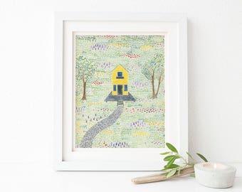 Farmhouse Art Print / Watercolor / Art Print / Yellow House / Farmhouse Gifts / Gifts for Her / Farm Art / Little House / Little House Art