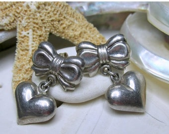 ON SALE Sterling Silver Puffy Heart and Bow Dangle Earrings  5.15g