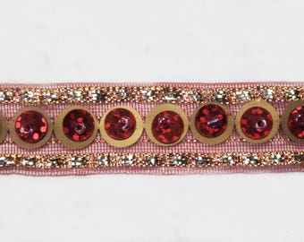 Indian Red Woven Ribbon Red Copper Sequin 1,8 cm x 1m