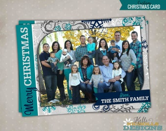 Custom Teal & Navy Blue Snowflake Photo Christmas Card, Printable Holiday Greeting Card, Family Picture #C107