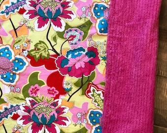 Baby Blanket  - Bright Floral - Designer Baby Blanket  - Pink Chenille Backing