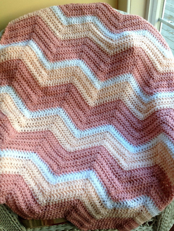 Chevron Zig Zag Baby Blanket Afghan Wrap Crochet Photo Prop
