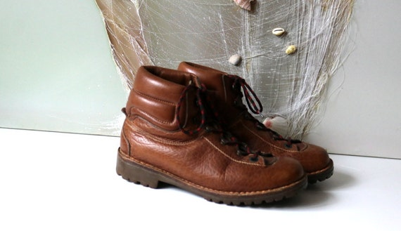 Vintage Boot Boot Camping Rust Biker Boot Size Unisex Walking Boots Leather Brown Mountain 41 Camping rzwXqTvx4r