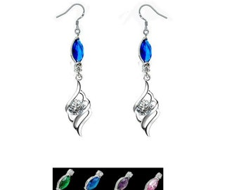 Sapphire feather earrings, Angel feather earrings on crystal marquise choice