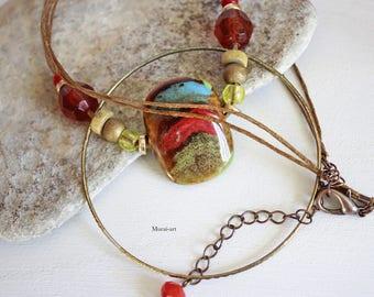 Ring stone multicolor necklace