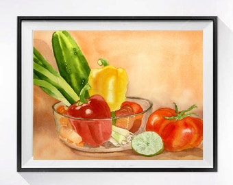 Fresh Veggies Bowl Art Watercolor Print Vegetable garden art Kitchen art Wall decor Home and Living Onions