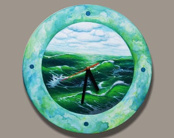 Hand painted big wall clock  with a sea.